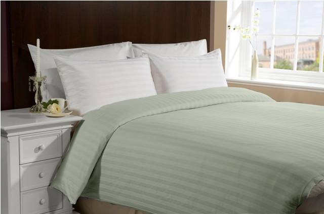 Cal-King/King 300TC 100% Cotton Duvet Cover- Green - Click Image to Close
