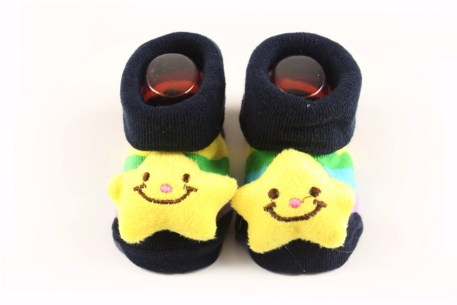 Lasin Baby Boy Cartoon Anti-slip Socks -Rainbow Star (0-12M)