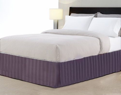 King 14-Inch Bed Skirt 100% Cotton - Purple